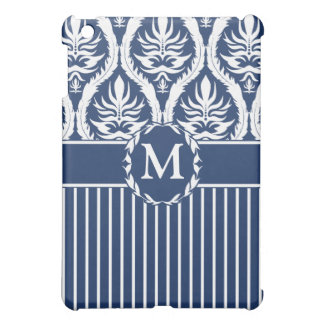 White on Blue Bold Damask iPad Mini Case