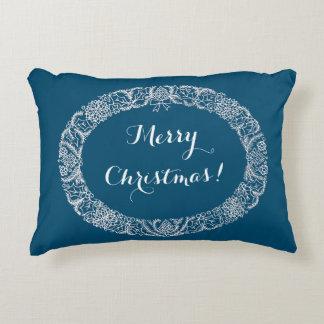 White on Blue Christmas Wreath to Customise Decorative Cushion