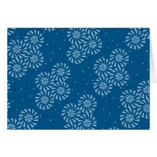 White on Blue Snowflake Winter Holiday Pattern Card
