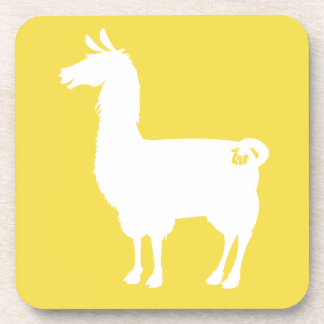 White On Colour Llama Coasters