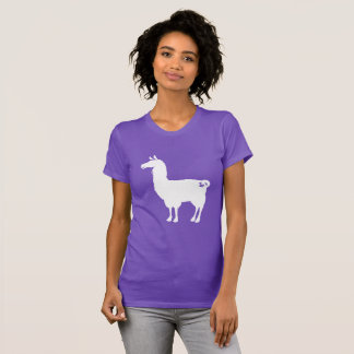 White On Colour Llama Ladies T-shirt