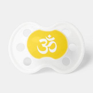 White on Gold Om Symbol Pacifier