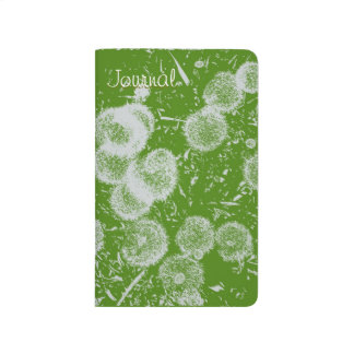 White on Green Dandelions Stamped Print Journal