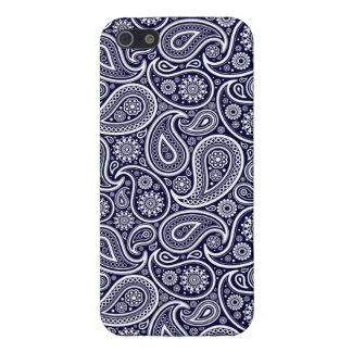 White On Navy Blue Retro Paisley Pattern iPhone 5 Cover