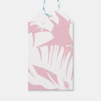 White on Pink Tropical Banana Leaves Pattern