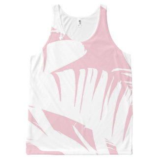 White on Pink Tropical Banana Leaves Pattern All-Over Print Tank Top