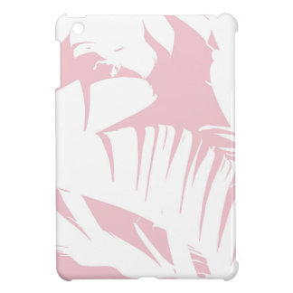 White on Pink Tropical Banana Leaves Pattern Case For The iPad Mini