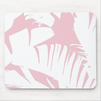 White on Pink Tropical Banana Leaves Pattern Mouse Pad