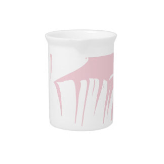White on Pink Tropical Banana Leaves Pattern Pitcher