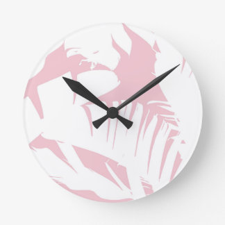 White on Pink Tropical Banana Leaves Pattern Round Clock