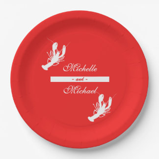 White on Red Crawfish Boil Event Plates 9 Inch Paper Plate