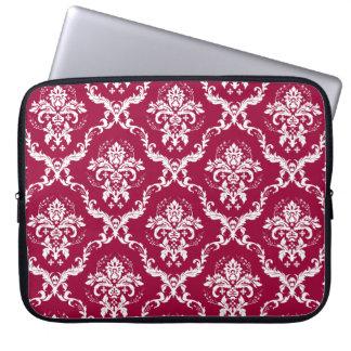 White on Red Damask Pattern Laptop Computer Sleeve