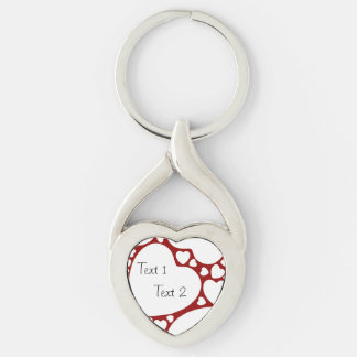 White on Red Hearts Pattern Heart-shaped Keychain Silver-Colored Twisted Heart Key Ring
