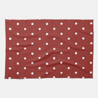 White on Red Polka Dots Tea Towel