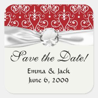 white on red swirl chandelier heart damask square sticker