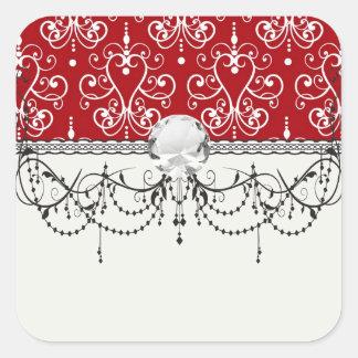 white on red swirl chandelier heart damask sticker