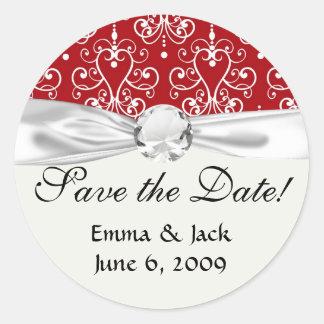 white on red swirl chandelier heart damask round stickers