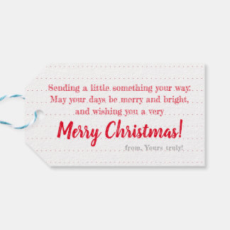 White on Red Wreath: Personalised Christmas Tag