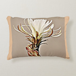 White on Tan Cactus Flower Accent Pillow