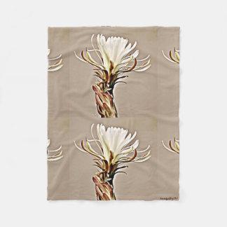 White on Tan Cactus Flower Fleece Blanket