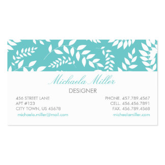 White on Teal Foliage Ferns Pattern Business Cards