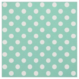 White on Teal Green Polka Dot Fabric