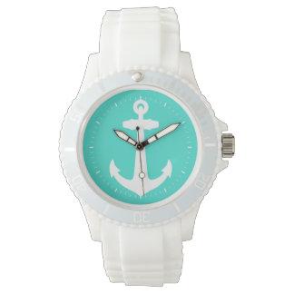 White On Turquoise Coastal Anchor Wrist Watches
