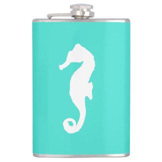 White On Turquoise Coastal Decor Seahorse Flasks