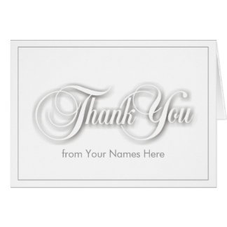 White on White Blank Thank You Note Card