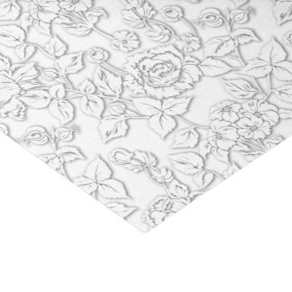 White on White Rose Modern Damask Floral Tissue Paper