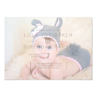 White Opaque Overlay | 1st Birthday Photo Invite