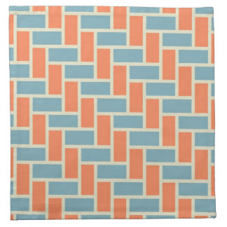 White, orange and blue Herringbone pattern Napkin