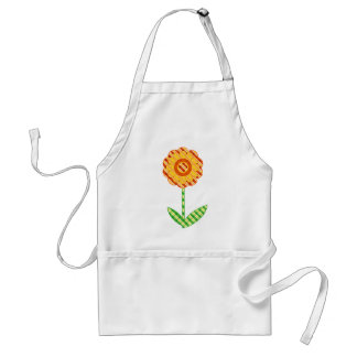 White Orange And Yellow Whimsical Floral Apron