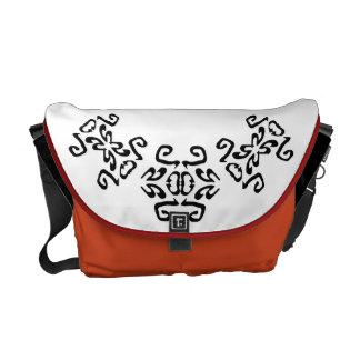 White & Orange Bold Scrolls Classy Commuter Bag
