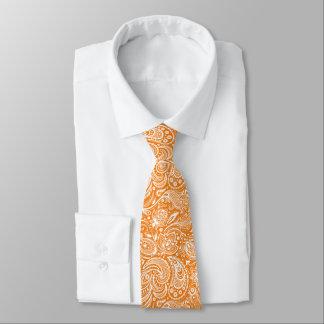 White & Orange Floral Paisley Damasks Pattern Tie
