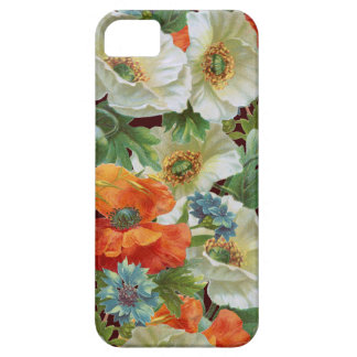 White Orange Poppies on Brown Floral iPhone Case
