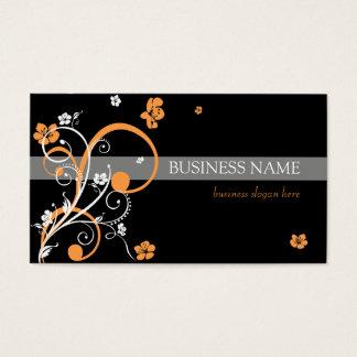 White Orange Spirals and Flowers Business Card