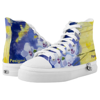 White Orchid- A sneaker with original painting Printed Shoes