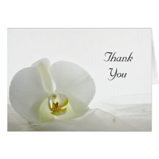 White Orchid and Veil Wedding Bridesmaid Thank You Card