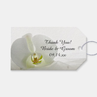 White Orchid and Veil Wedding Favor Tags