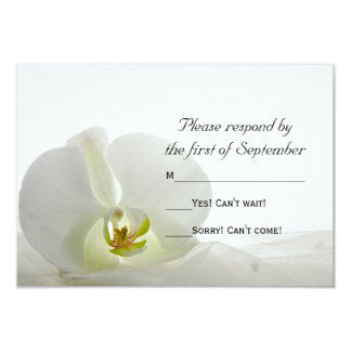 White Orchid and Veil Wedding RSVP 9 Cm X 13 Cm Invitation Card