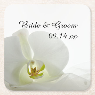 White Orchid and Veil Wedding Square Paper Coaster