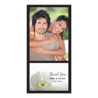 White Orchid and Veil Wedding Thank You Photo Greeting Card