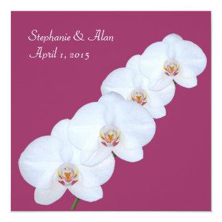 """White Orchid Branch Wedding Invitation 5.25"""" Square Invitation Card"""