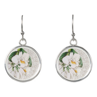 White Orchid Calligraphy Earrings