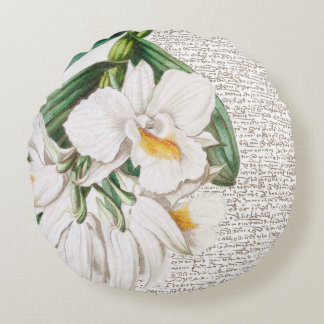 White Orchid Calligraphy Round Cushion