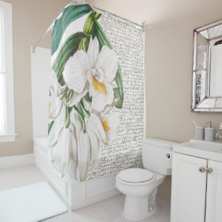 White Orchid Calligraphy Shower Curtain