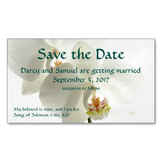 White Orchid Christian Wedding Save The Date Magnetic Business Card