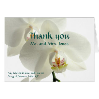 White Orchid Christian Wedding Thank You Card