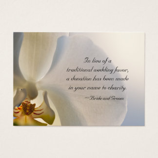 White Orchid Elegance Charity Wedding Favor Card
